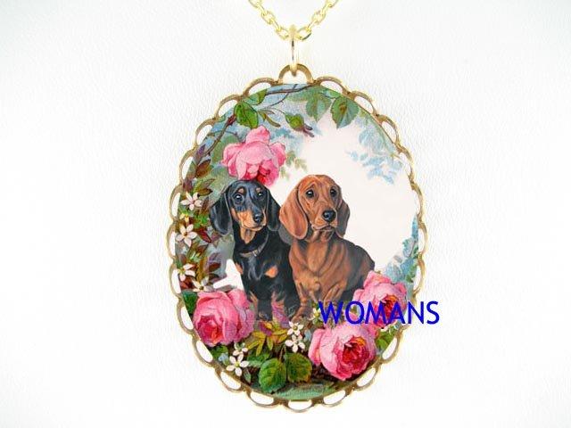 2 DACHSHUND DOG FAMILY ROSE PORCELAIN CAMEO NECKLACE