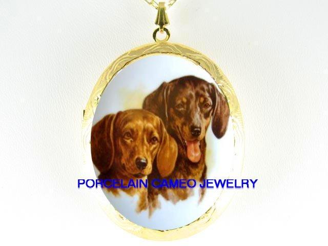 2 SMILING DACHSHUND DOG CAMEO PORCELAIN LOCKET NECKLACE