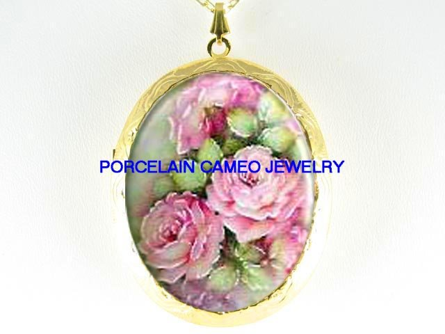 VICTORIAN PINK ENGLISH ROSE CAMEO PORCELAIN LOCKET NECKLACE