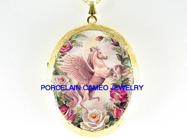 PEGASUS HORSE ROSE CAMEO PORCELAIN LOCKET NECKLACE