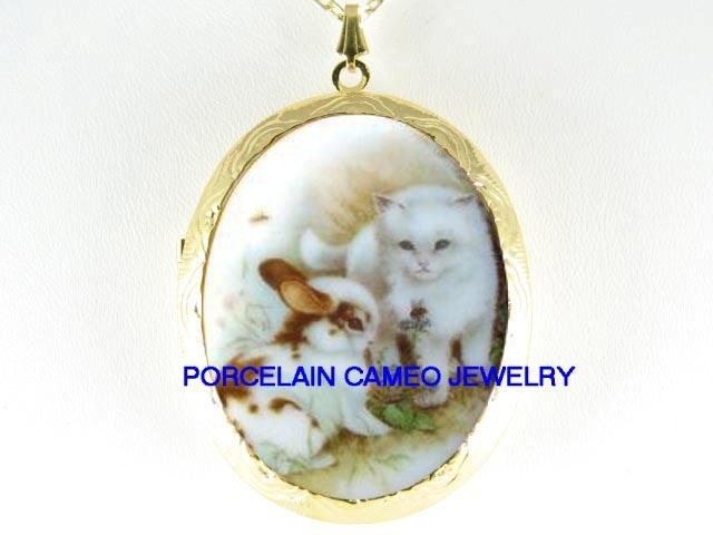 RABBIT BUNNY WITH WHITE KITTY CAT BEE PORCELAIN CAMEO LOCKET NECKLACE