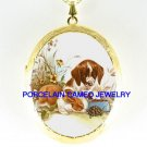 RABBIT BUNNY WITH PUPPY TURTLE PORCELAIN CAMEO LOCKET NECKLACE