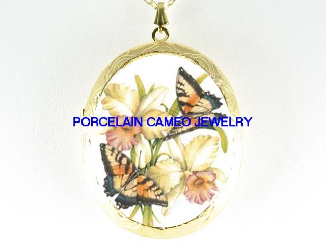 2 BUTTERFLY WITH ORCHID PORCELAIN CAMEO LOCKET NECKLACE