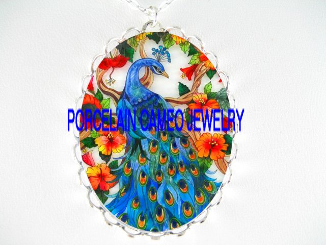 BLUE PEACOCK BIRD HIBISCUS PORCELAIN CAMEO NECKLACE