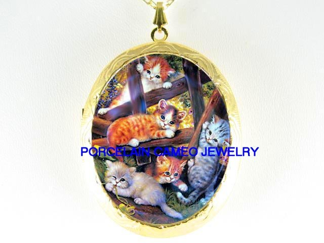 KITTY CAT COLLAGE CROSSING FENCE CAMEO PORCELAIN LOCKET NECKLACE