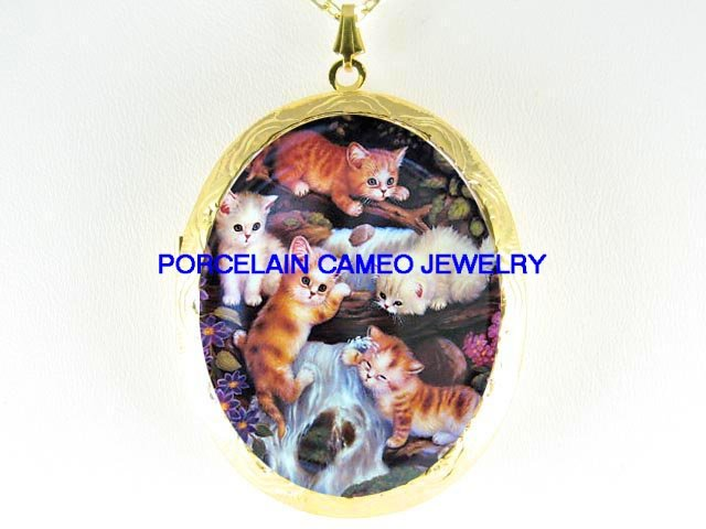 KITTY CAT COLLAGE PLAYING WATER FOUNTAIN *  CAMEO PORCELAIN LOCKET NECKLACE