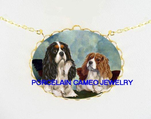 2 RAPHAEL ANGEL CHERUB CAVALIER KING CHARLES SPANIEL DOG PORCELAIN CAMEO NECKLACE