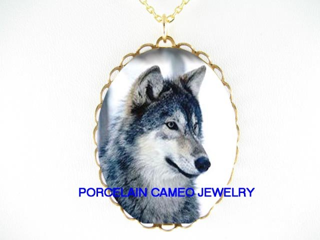 HUNTING GREY WOLF SNOW FOREST CAMEO PORCELAIN NECKLACE