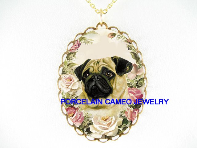 SWEET CUTE PUG DOG PINK ROSE PORCELAIN CAMEO NECKLACE