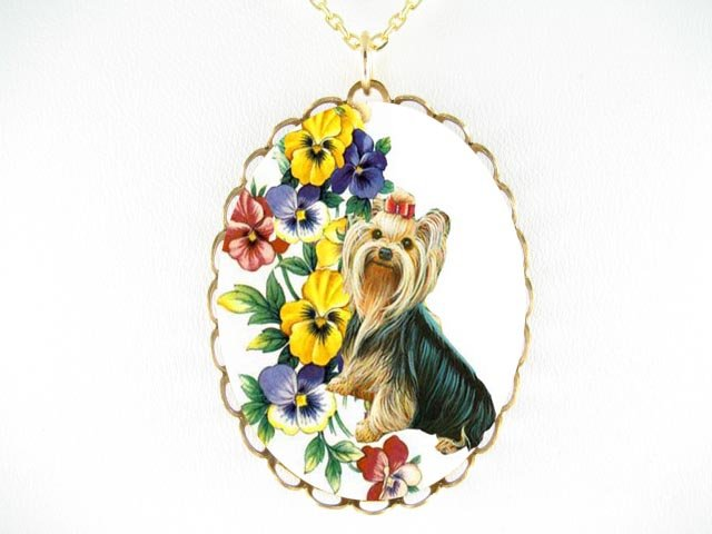 YORKSHIRE TERRIER DOG WITH COLORFUL PANSY* CAMEO PORCELAIN NECKLACE