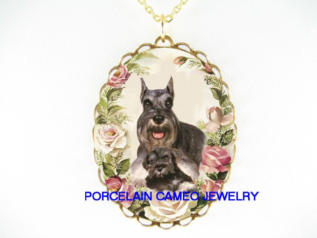 2 SCHNAUZER DOG MOM CUDDLE PUPPY ROSE CAMEO NECKLACE