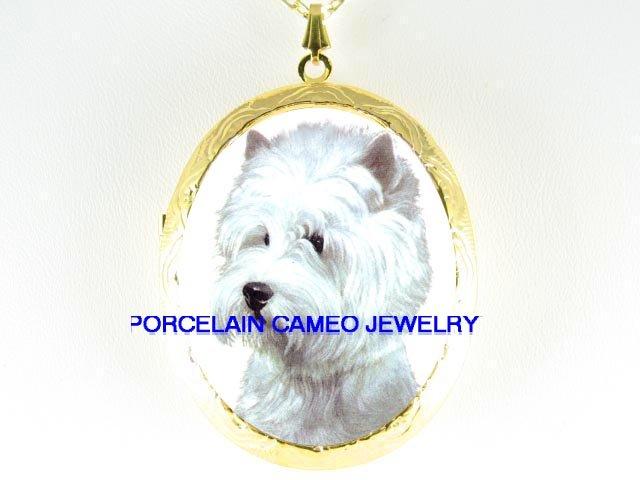 WESTIE HIGHLAND WHITE TERRIER DOG CAMEO LOCKET NECKLACE