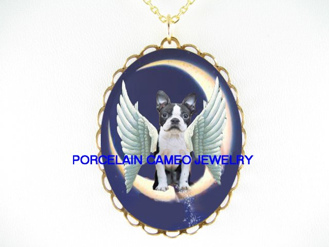 ANGEL WING BOSTON TERRIER DOG MOON DUSTING STARS  * CAMEO PORCELAIN NECKLACE