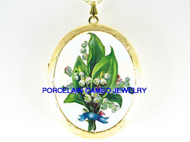 LILY OF THE VALLEY CAMEO PORCELAIN LOCKET NECKALACE