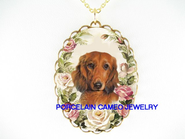 SWEET DACHSHUND DOG PINK ROSE CAMEO PORCELAIN NECKLACE