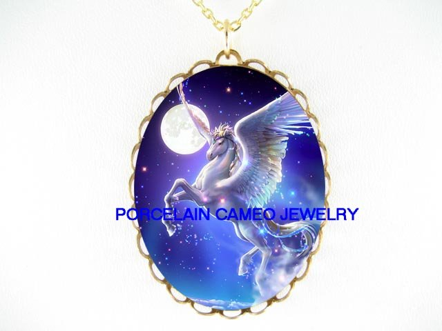 PEGASUS HORSE FULL MOON STARS CAMEO PORCELAIN NECKLACE