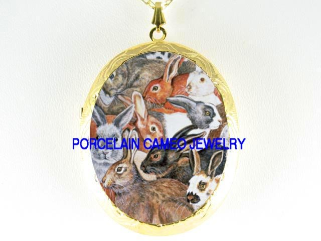 RABBIT BUNNY COLLAGE PORCELAIN CAMEO LOCKET NECKLACE
