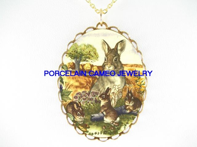 4 RABBIT BUNNY FAMILY IN THE FIELD  * CAMEO PORCELAIN NECKLACE