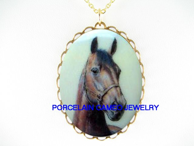 BROWN ARABIAN HORSE * CAMEO PORCELAIN NECKLACE