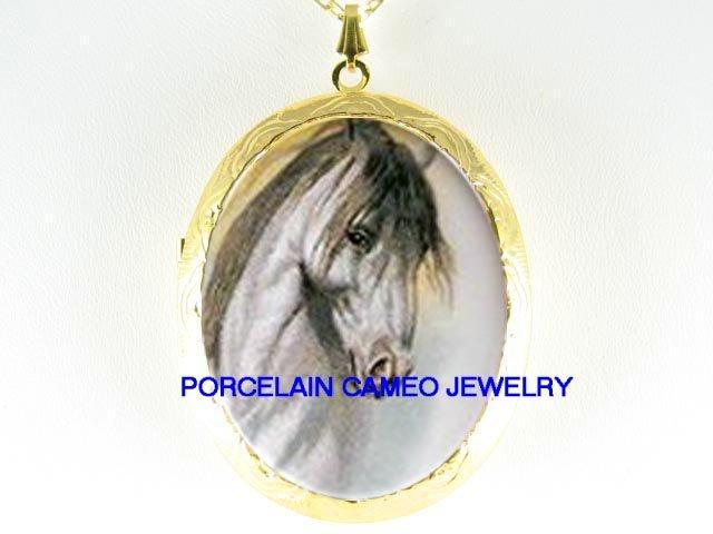 GREY STALLION HORSE *  CAMEO PORCELAIN LOCKET NECKLACE