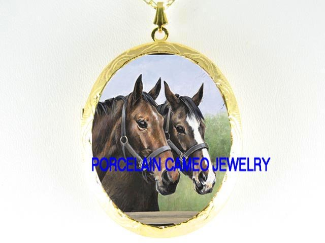 2 BROWN STALLION HORSE PORCELAIN CAMEO LOCKET NECKLACE