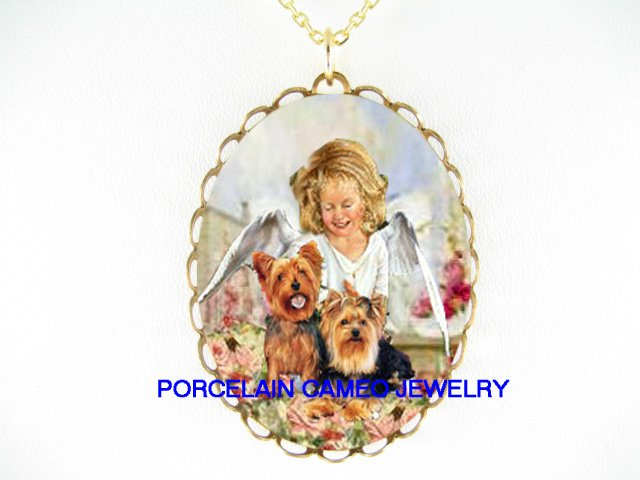 2 YORKSHIRE WITH ANGEL ROSE * CAMEO PORCELAIN NECKLACE