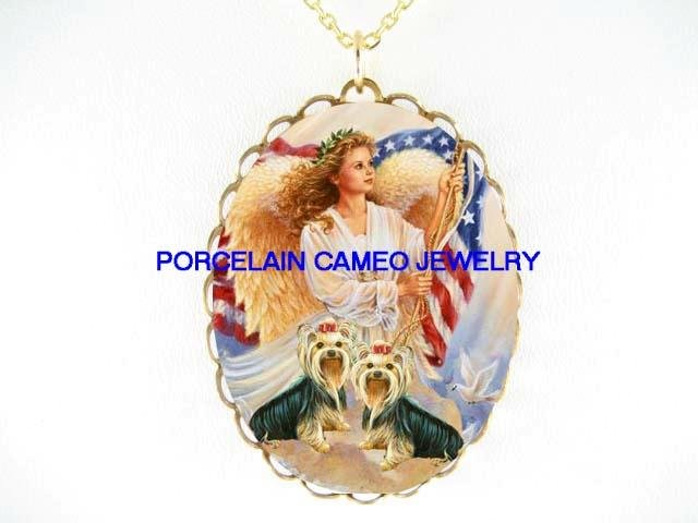 ANGEL PROUD 2 YORKSHIRE DOG AMERICAN FLAG CAMEO NECKLACE