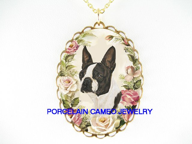 BOSTON TERRIER DOG PINK ROSE CAMEO PORCELAIN NECKLACE