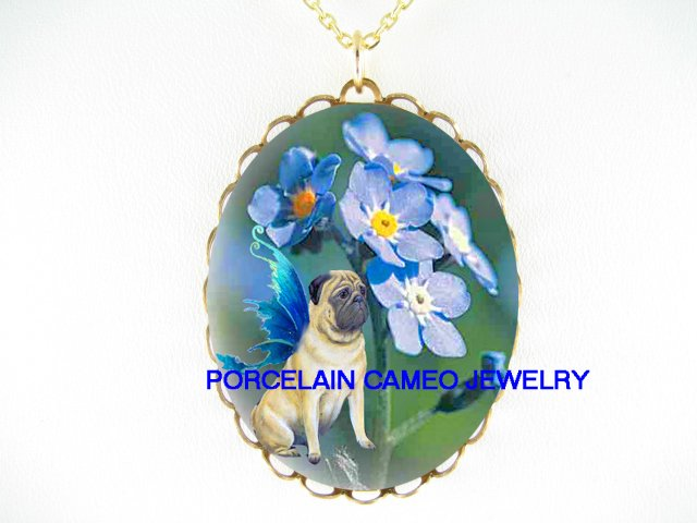 BUTTERFLY PUG DOG FAIRY FORGET ME NOT CAMEO NECKLACE