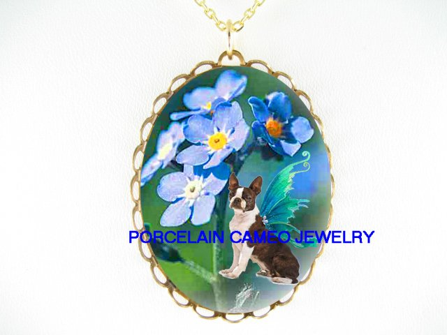 BUTTERFLY BOSTON TERRIER FAIRY DOG FORGETMENOT NECKLACE
