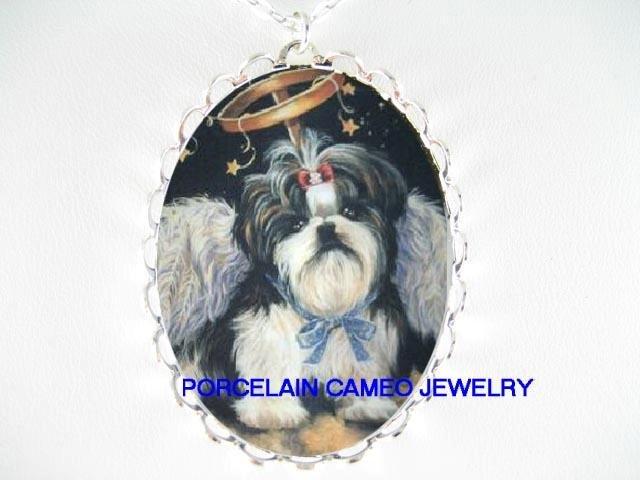 ANGEL WING SHIH TZU DOG CAMEO PORCELAIN NECKLACE