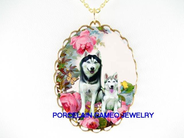 2 SIBERIAN HUSKY DOG MOM PUPPY ROSE BUTTERFLY NECKLACE