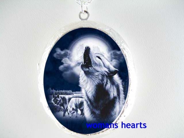 HOWLING GREY WOLF MOON PORCELAIN CAMEO LOCKET NECKLACE