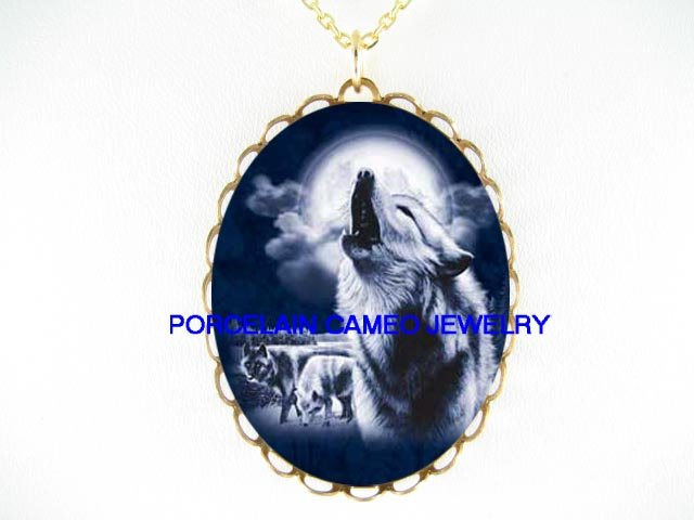 3 BLUE WOLF HOWLING FULL MOON CAMEO PORCELAIN NECKLACE