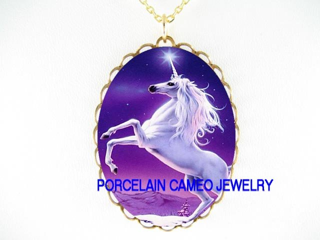 PURPLE UNICORN HORSE STARS CAMEO PORCELAIN NECKLACE