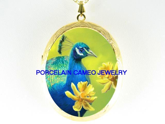 PEACOCK BIRD FLOWER   *  CAMEO PORCELAIN LOCKET NECKLACE