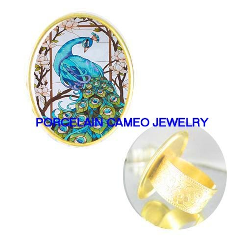 BLUE PEACOCK BIRD DOGWOOD CAMEO PORCELAIN ADJ RING 5-9