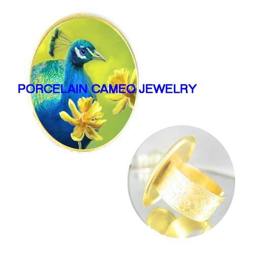 BLUE PEACOCK BIRD FLOWER* PORCELAIN CAMEO ADJ RING 5-9