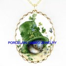 IRISH SHAMROCK ST PATRICK'S HAT BIRD  CAMEO NECKLACE