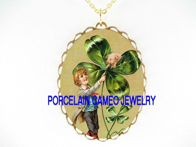 IRISH SHAMROCK ST PATRICK'S BOY CHASING PIG NECKLACE
