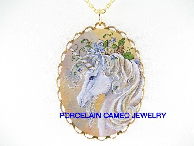WHITE UNICORN HORSE ROSE PORCELAIN CAMEO NECKLACE