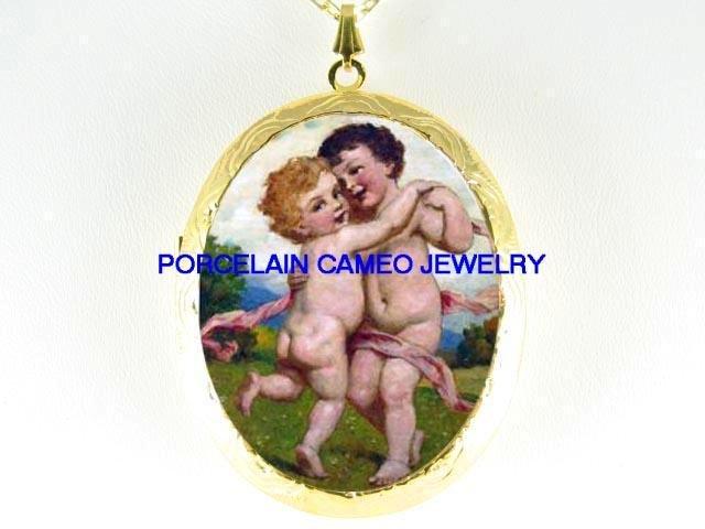2 VICTORIAN DANCING ANGEL CHERUB *  CAMEO PORCELAIN LOCKET NECKLACE