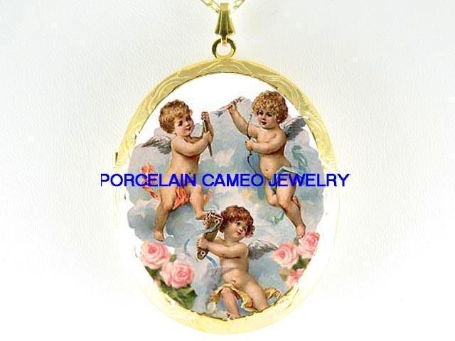 3 VICTORIAN ANGEL CHERUB ROSE *  CAMEO PORCELAIN LOCKET NECKLACE
