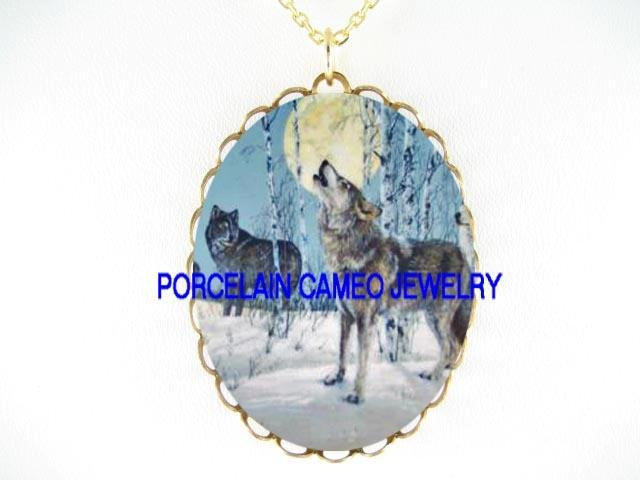 2 GREY WOLF MOON HOWLING   * CAMEO PORCELAIN NECKLACE