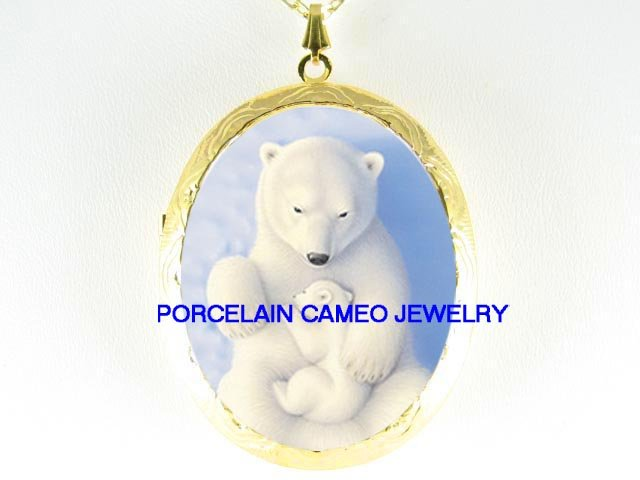 POLAR BEAR MOM CUDDLING BABY CUB PORCELAIN CAMEO LOCKET