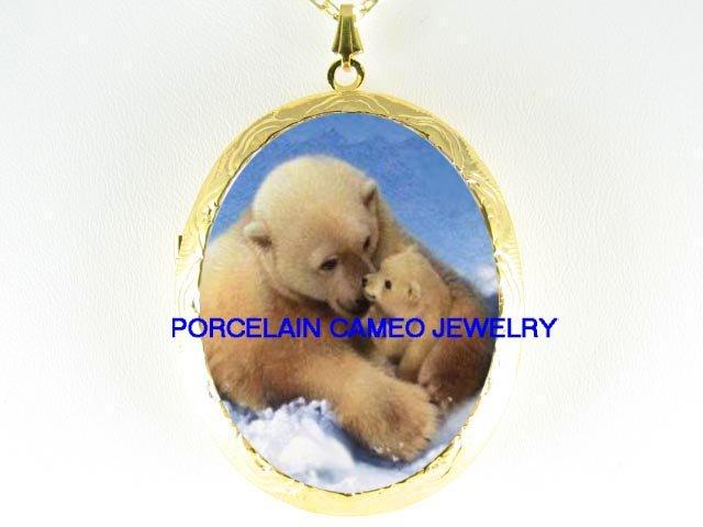 POLAR BEAR MOM  KISSING BABY CUB PORCELAIN CAMEO LOCKET