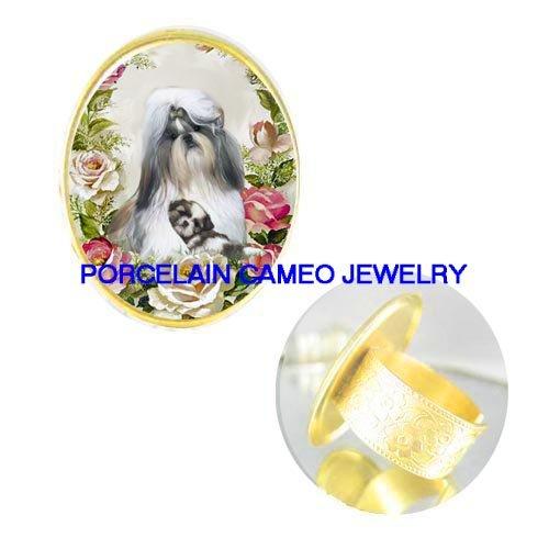 SHIH TZU DOG MOM CUDDLING PUPPY CAMEO PORCELAIN RING 5-9