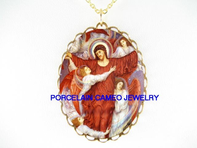 RESURRECTION JESUS WITH ANGEL PORCELAIN CAMEO NECKLACE