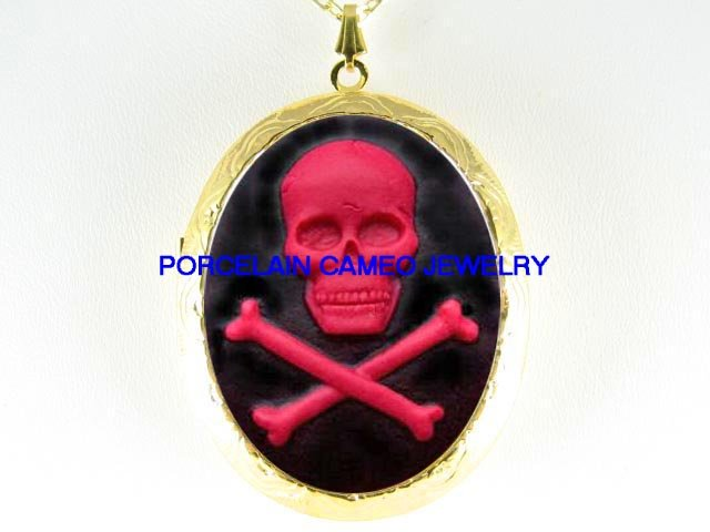 BLACK RED SKULL BONE GOTH PUNK  VINTAGE CAMEO LOCKET NECKLACE