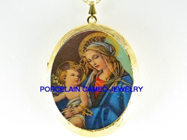 VIRGIN MARY BABY JESUS CAMEO PORCELAIN LOCKET NECKLACE